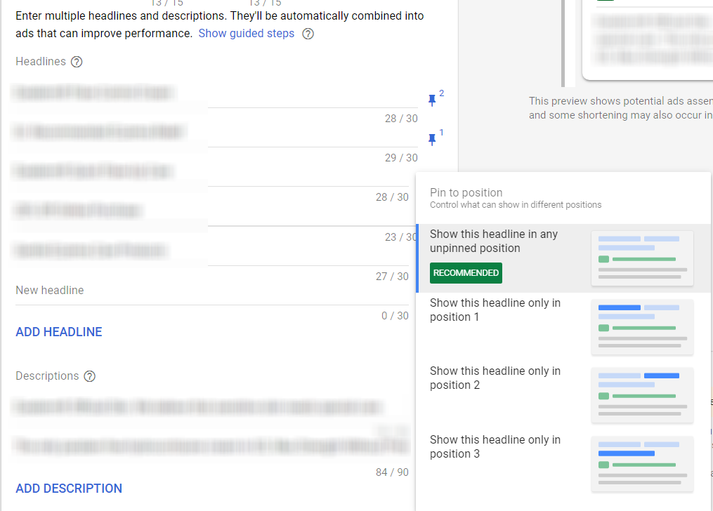 Google responsive search ads steps