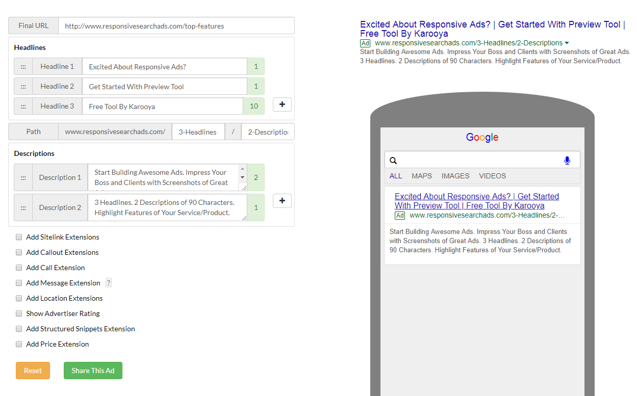 Create Google responsive search ads